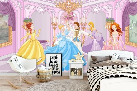 Princesses paper photo wallpaper nursery